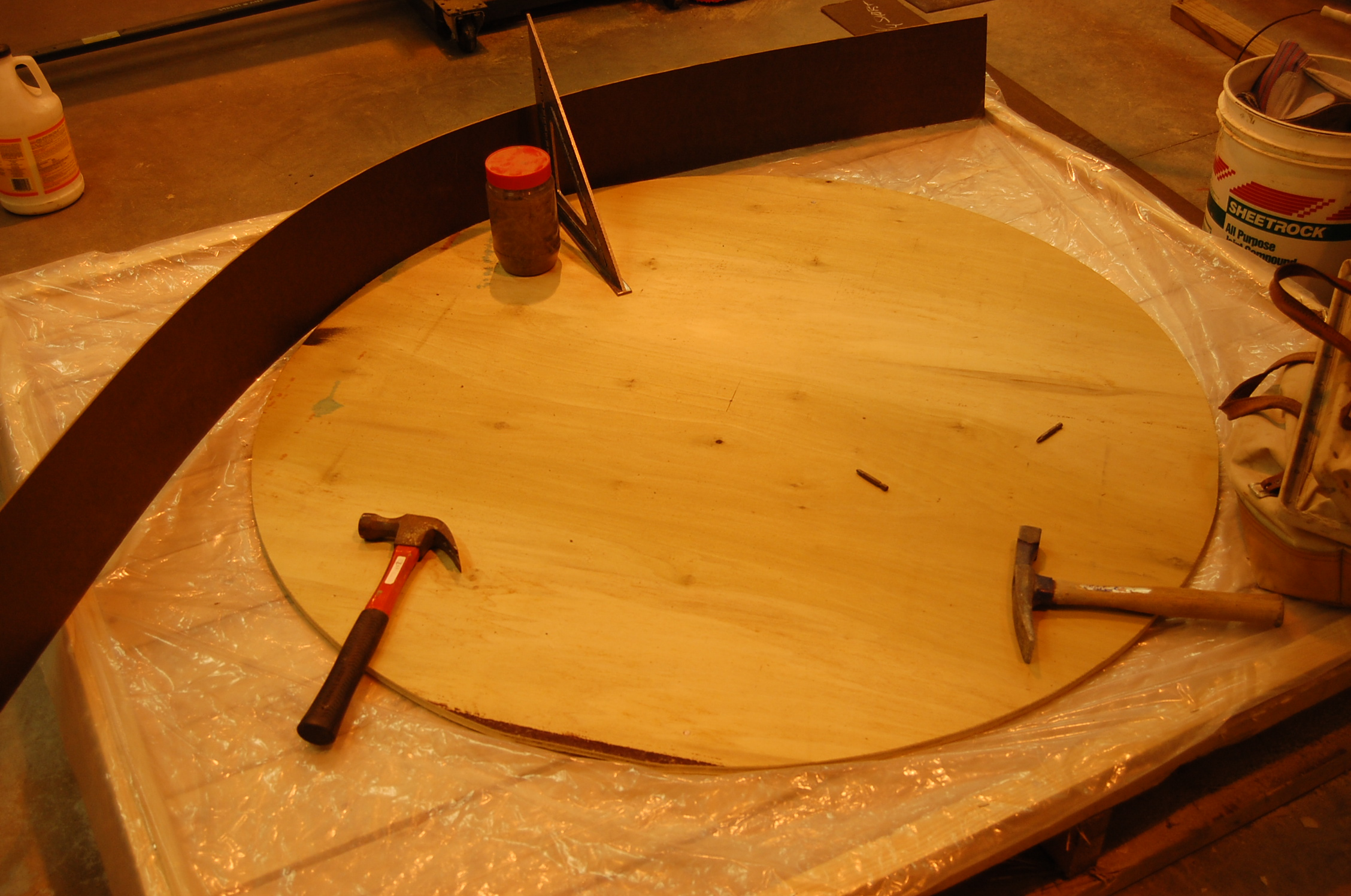 Some of the work volunteer Greg Voorhies had to complete to reassemble the millstone from the Mount Healthy Flour Mill.