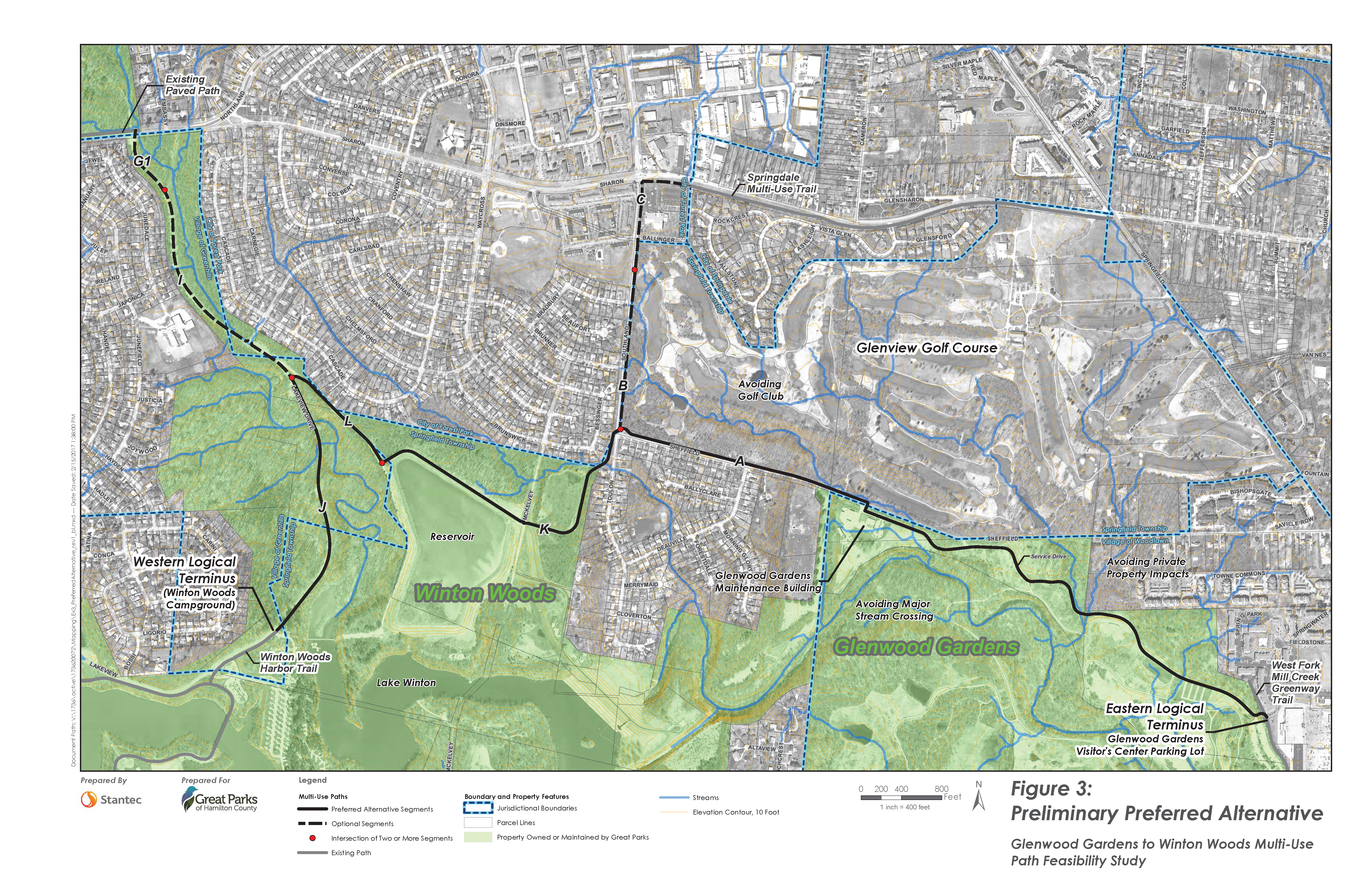 An aerial view of the proposed trail route connecting Glenwood Gardens to Winton Woods.