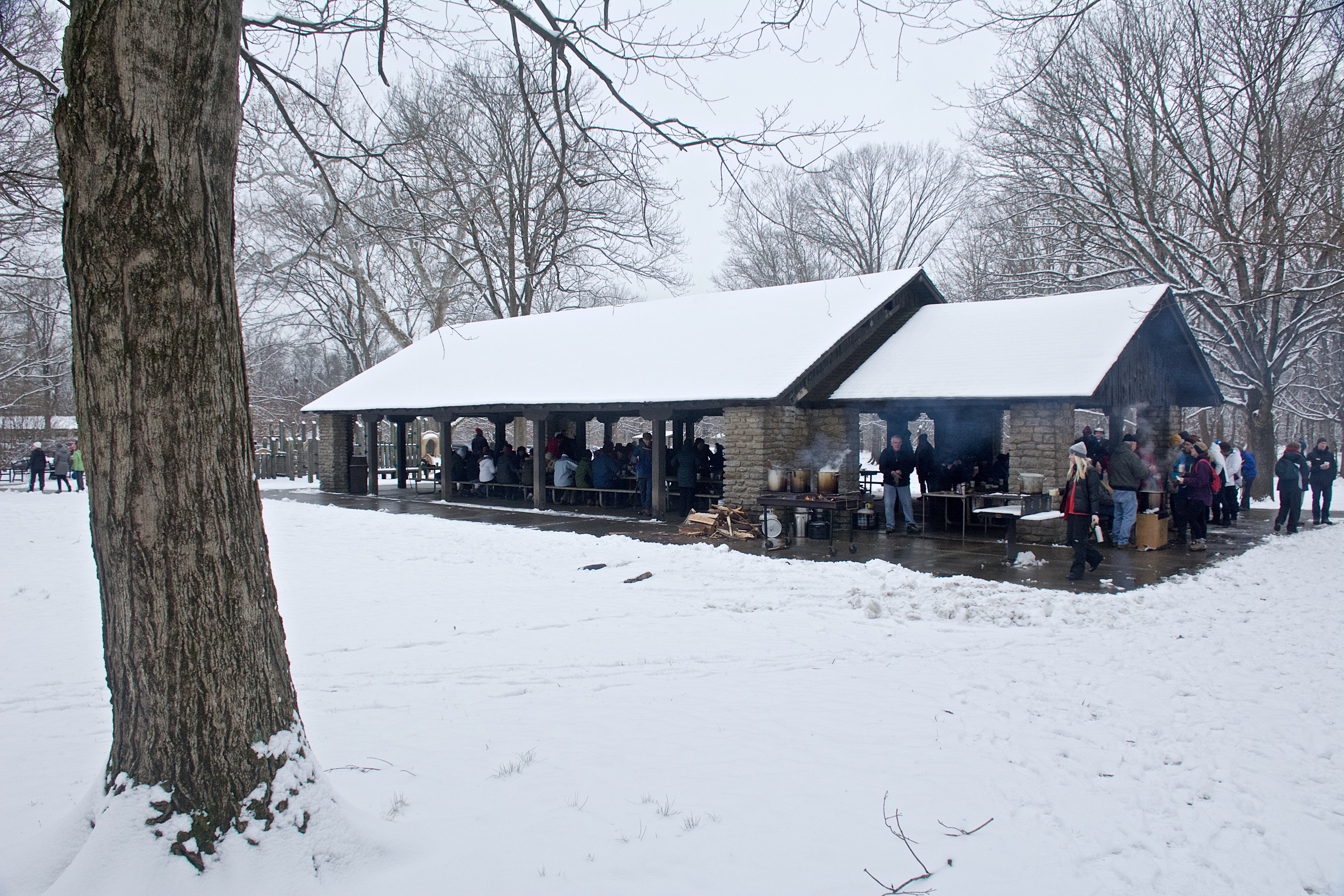 After a long hike, guests gather at Pavilion Grove Shelter in Sharon Woods for a hearty bowl of soup.