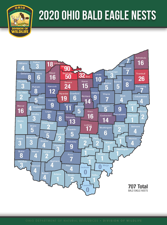 2020 Ohio Bald Eagle Nests graphic