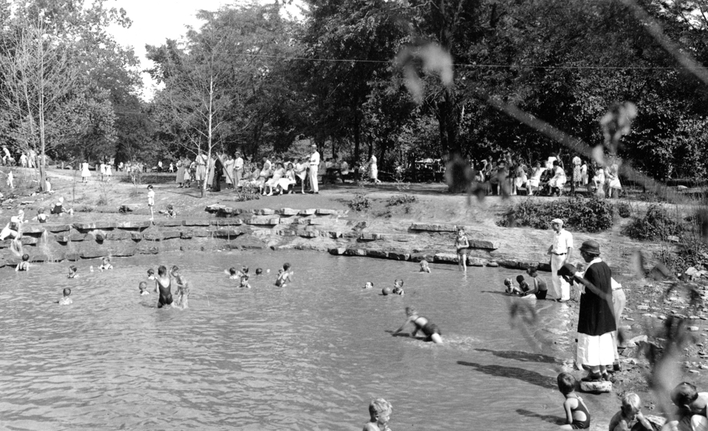 Buckeye Pool, now a part of Sharon Lake, was a swimming hole for park guests.