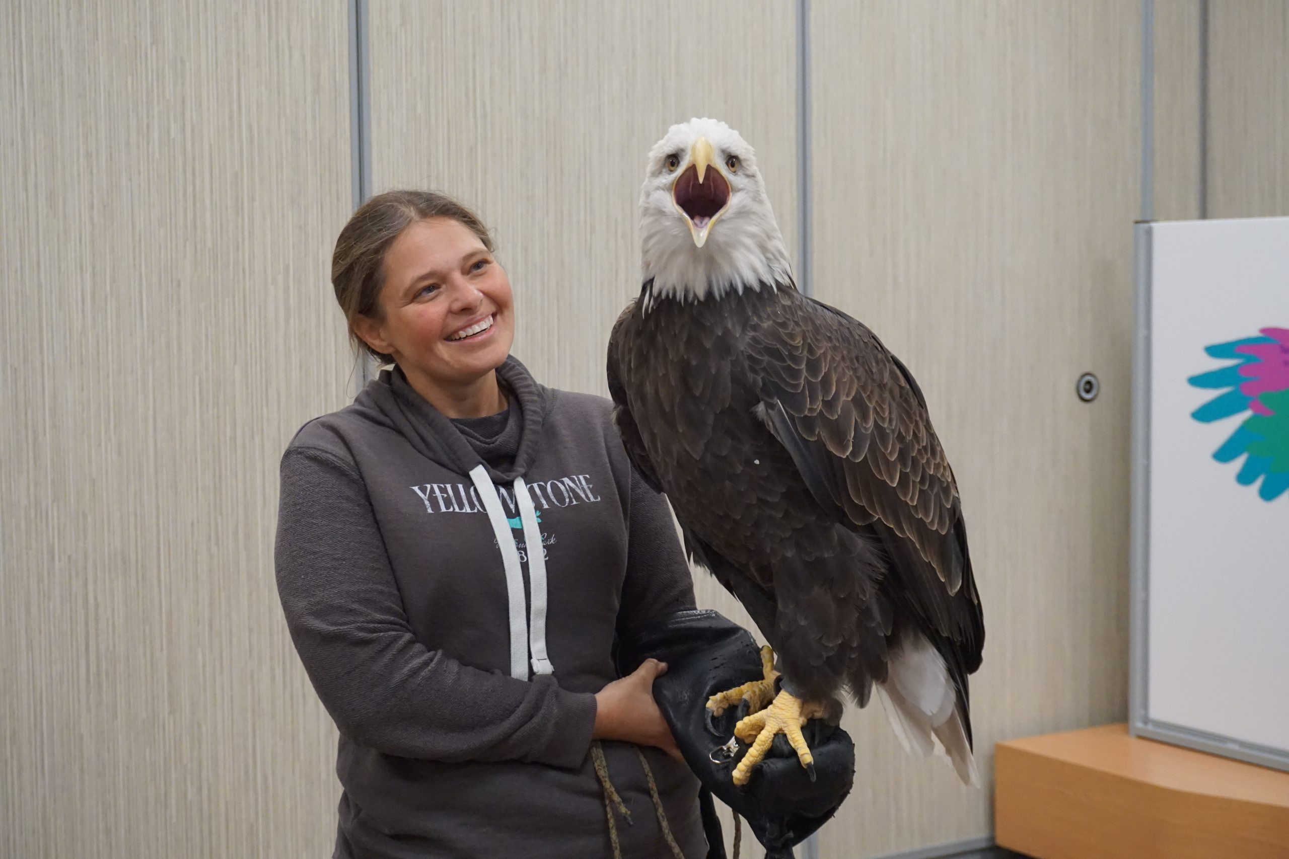 Stephanie Morris and Max the bald eagle