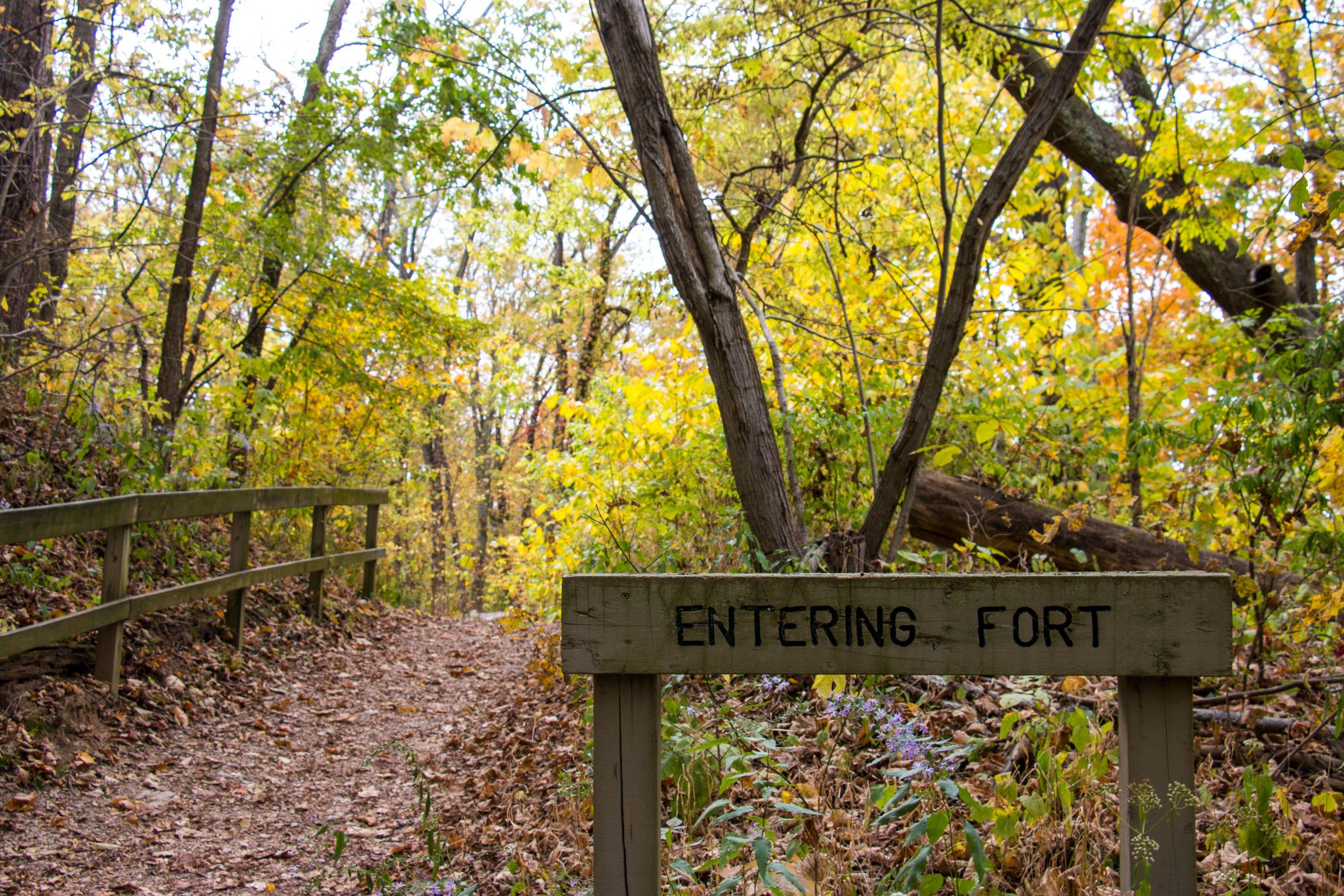 "A sign reads ""Entering Fort"" on the Miami Fort Trail at Shawnee Lookout."