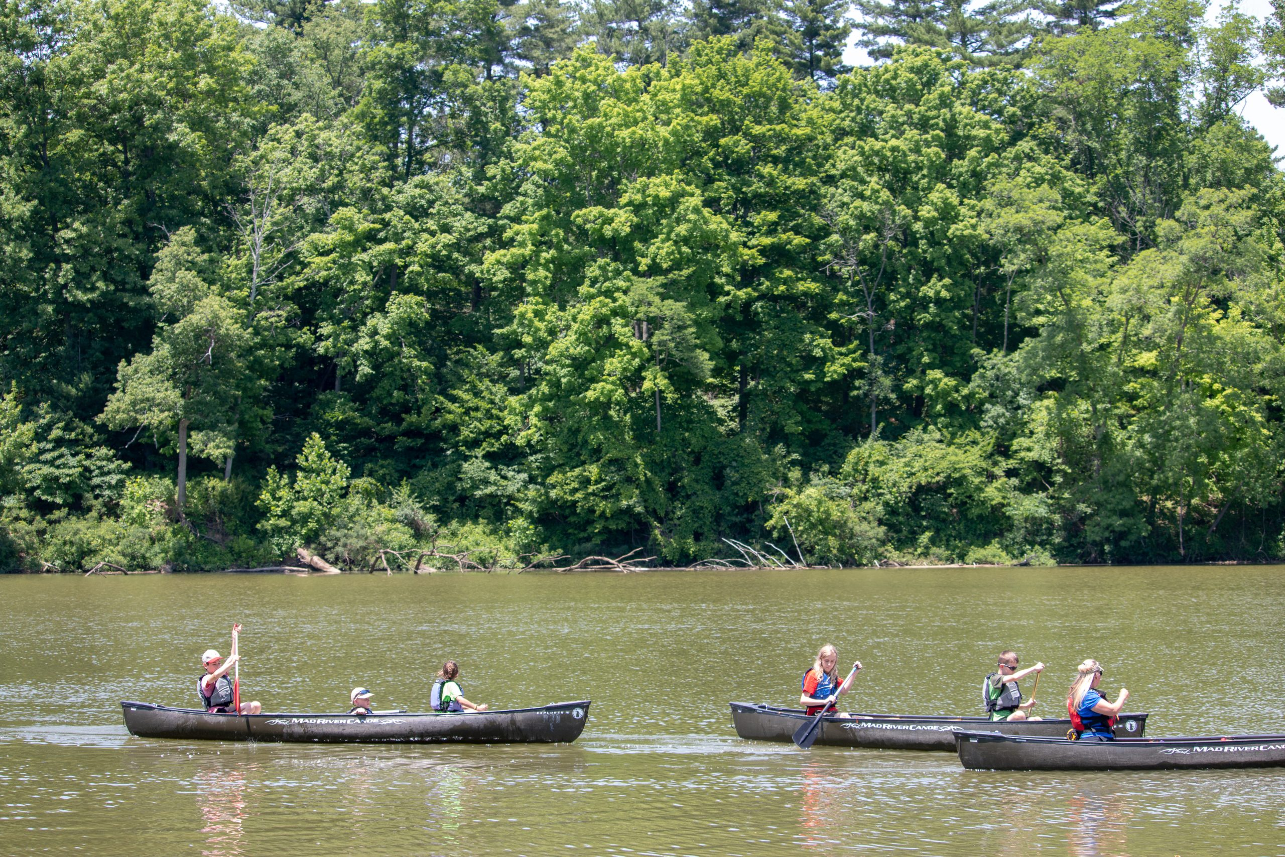 A group of people canoe on a lake on a sunny summer day.